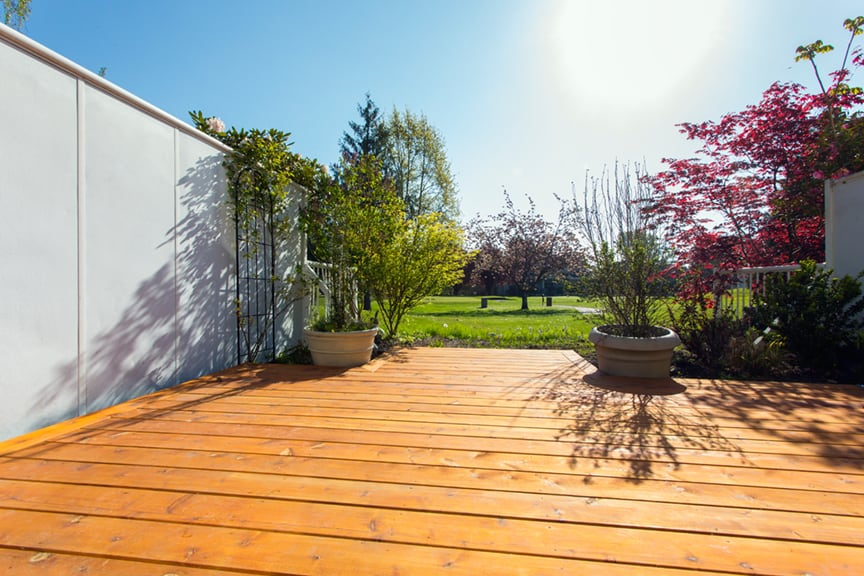 wood patio installation on golf course | Citywide Sundecks and Railings