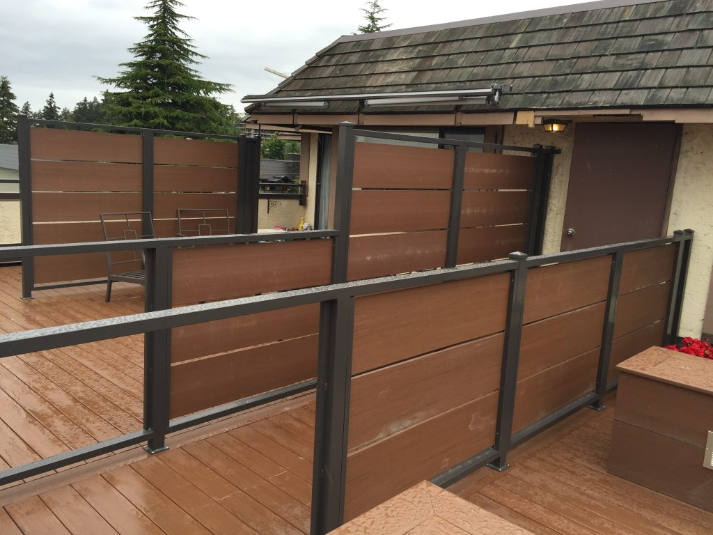 Custom Composite Slat and Aluminum Frame Privacy wall | Citywide Sundecks and Railings
