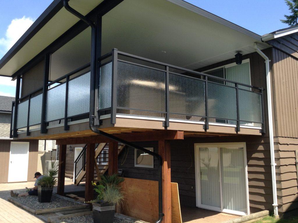 Glass Railings, side mount, double top standard top, Rain glass finish | Citywide Sundecks Custom Railings